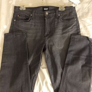 Hudson mid-rise skinny faded black jeans